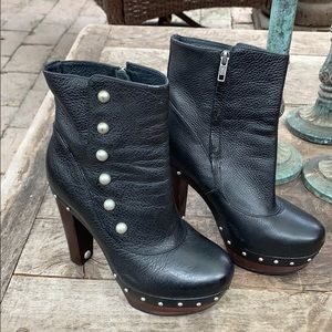 Ugg black leather booties with studs size 7.